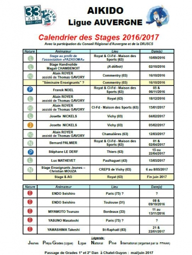 aikido,commentry,ffaaa,calendrier des stages,ligue auvergne